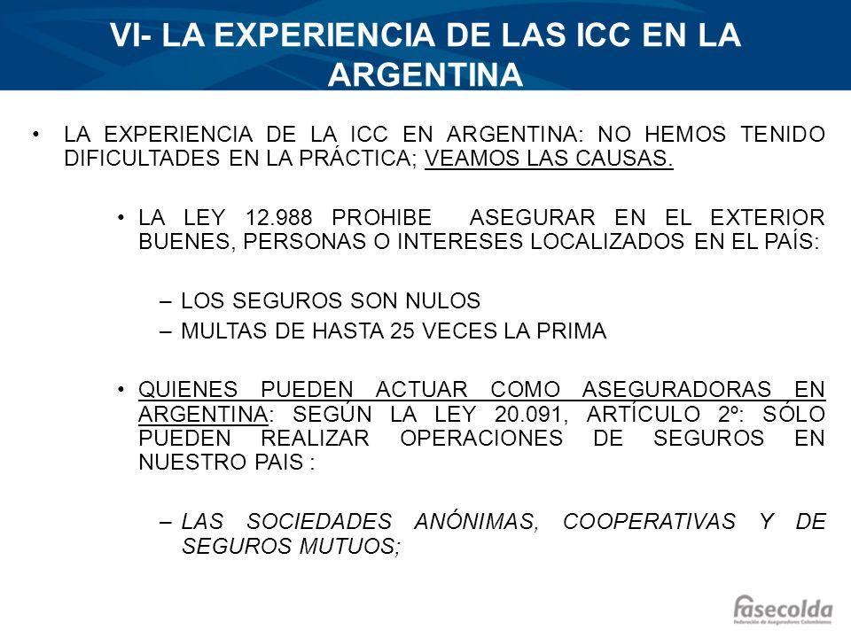 VI- LA EXPERIENCIA DE LAS ICC EN LA ARGENTINA LA EXPERIENCIA DE LA ICC EN ARGENTINA: NO HEMOS TENIDO DIFICULTADES EN LA PRÁCTICA; VEAMOS LAS CAUSAS. L