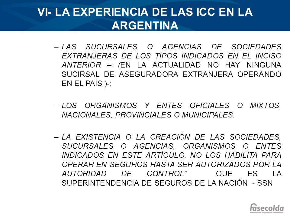 VI- LA EXPERIENCIA DE LAS ICC EN LA ARGENTINA –LAS SUCURSALES O AGENCIAS DE SOCIEDADES EXTRANJERAS DE LOS TIPOS INDICADOS EN EL INCISO ANTERIOR – (EN