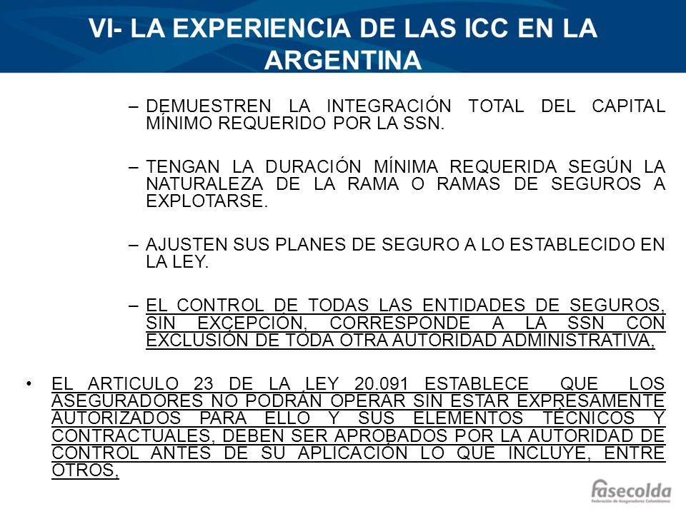 VI- LA EXPERIENCIA DE LAS ICC EN LA ARGENTINA –DEMUESTREN LA INTEGRACIÓN TOTAL DEL CAPITAL MÍNIMO REQUERIDO POR LA SSN. –TENGAN LA DURACIÓN MÍNIMA REQ