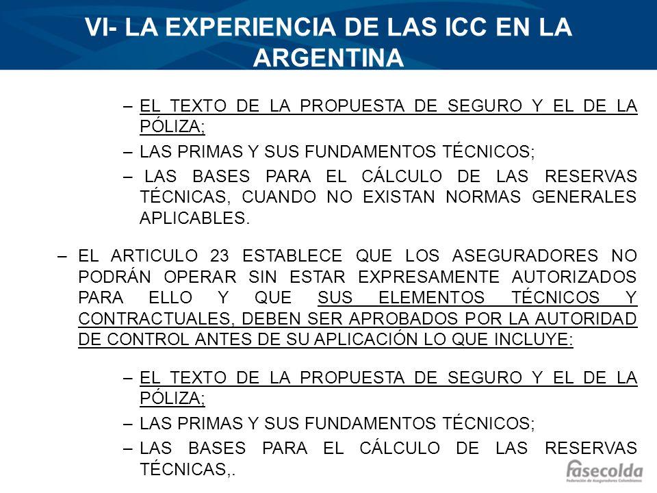 VI- LA EXPERIENCIA DE LAS ICC EN LA ARGENTINA –EL TEXTO DE LA PROPUESTA DE SEGURO Y EL DE LA PÓLIZA; –LAS PRIMAS Y SUS FUNDAMENTOS TÉCNICOS; – LAS BAS