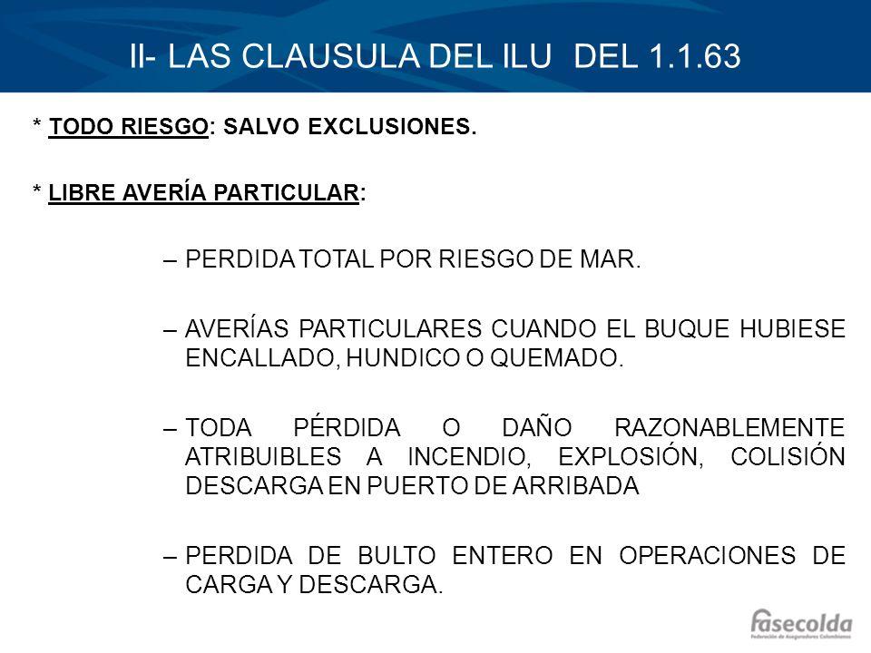 II- LAS CLAUSULA DEL ILU DEL 1.1.63 * TODO RIESGO: SALVO EXCLUSIONES. * LIBRE AVERÍA PARTICULAR: –PERDIDA TOTAL POR RIESGO DE MAR. –AVERÍAS PARTICULAR