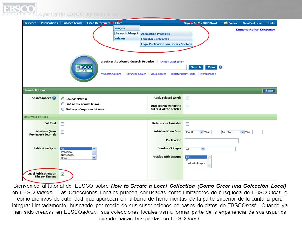 Bienvenido al tutorial de EBSCO sobre How to Create a Local Collection (Como Crear una Colección Local) en EBSCOadmin.