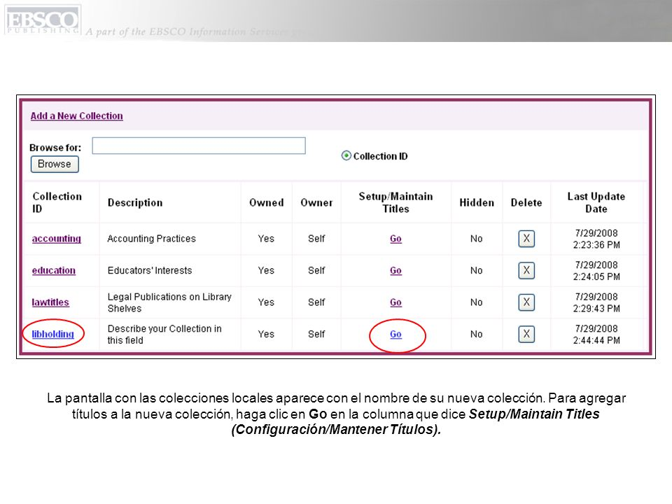 Haga clic en Add New Titles (Agregar Nuevos Títulos), después busque títulos por base de datos, por nombre, o por ISSN/ISBN.