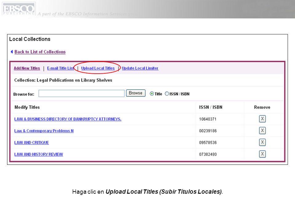 Haga clic en Upload Local Titles (Subir Títulos Locales).
