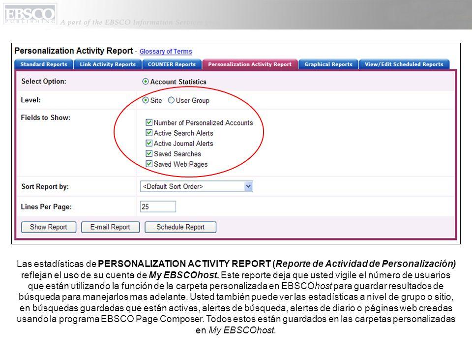 Las estadísticas de PERSONALIZATION ACTIVITY REPORT (Reporte de Actividad de Personalización) reflejan el uso de su cuenta de My EBSCOhost. Este repor