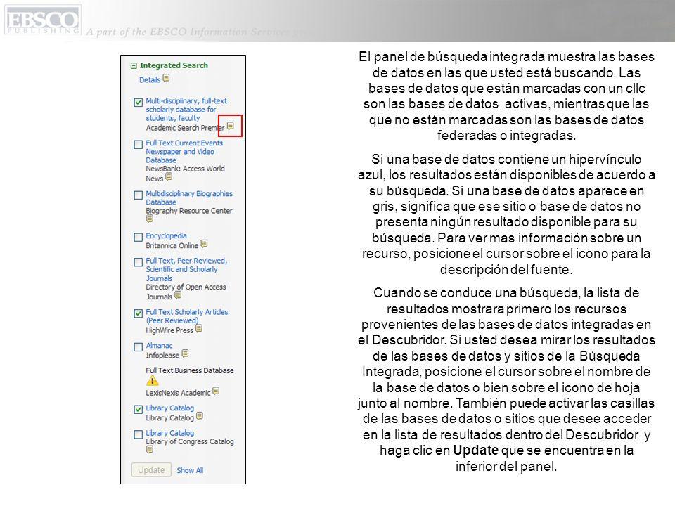 Para ver los detalles de la búsqueda integrada que están perfilando el origen de los resultados, haga clic en el Details (icono de Hoja).