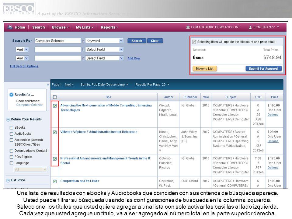 Una lista de resultados con eBooks y Audiobooks que coinciden con sus criterios de búsqueda aparece.