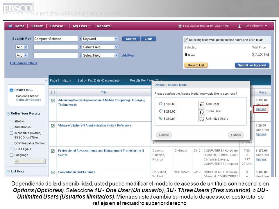 Dependiendo de la disponibilidad, usted puede modificar el modelo de acesso de un título con hacer clic en Options (Opciones).