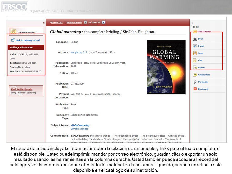 El récord detallado incluye la información sobre la citación de un artículo y links para el texto completo, si está disponible.