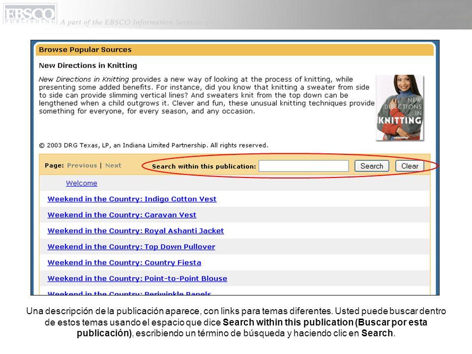 Una descripción de la publicación aparece, con links para temas diferentes.