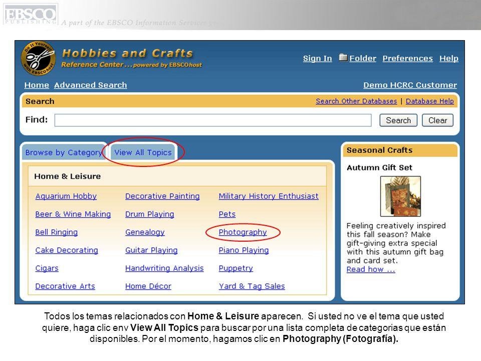 La etiqueta que dice Hobby Profile (Perfil de la afición) es el documento que aparece automáticamente.