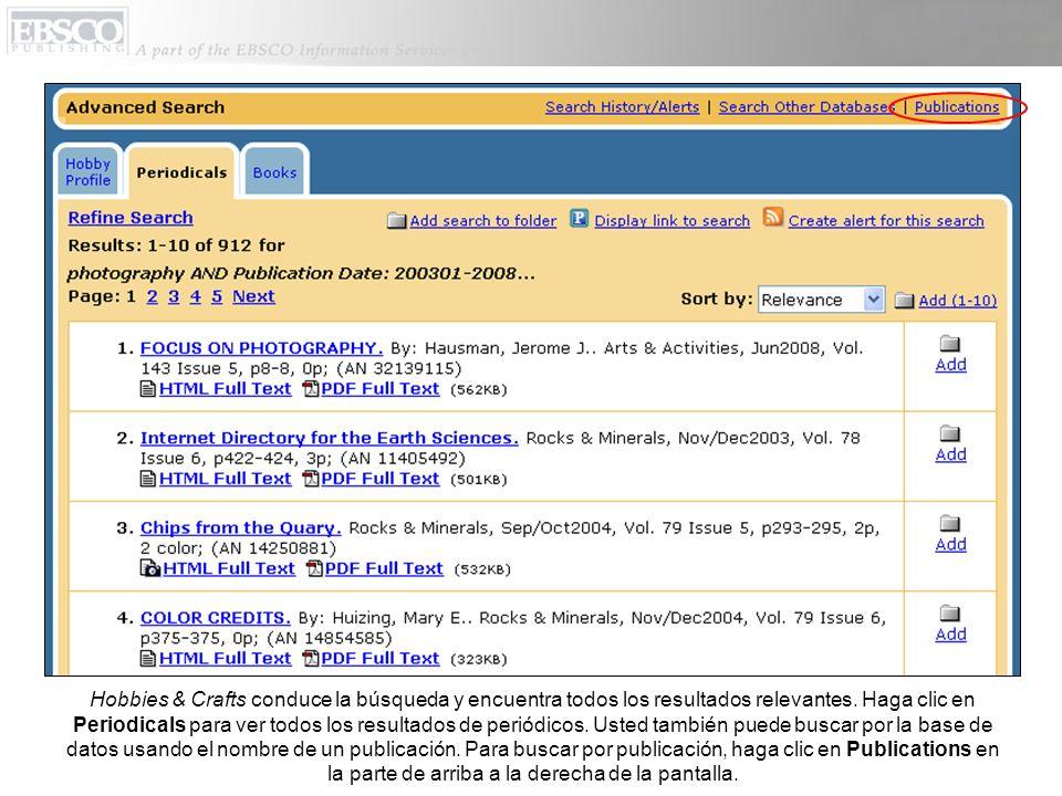 Usted puede buscar escribiendo el nombre de una publicación el el espacio de Find o navegando por las publicaciones usando la lista A-Z.