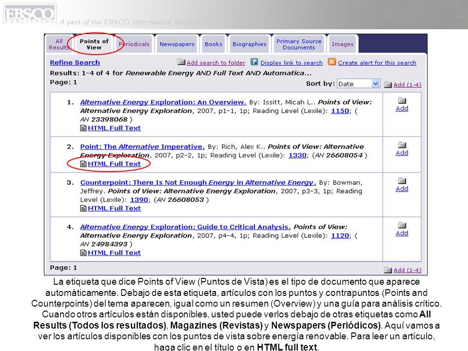 La etiqueta que dice Points of View (Puntos de Vista) es el tipo de documento que aparece automáticamente.