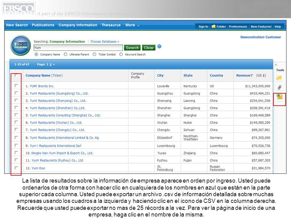 La lista de resultados sobre la información de empresa aparece en orden por ingreso.