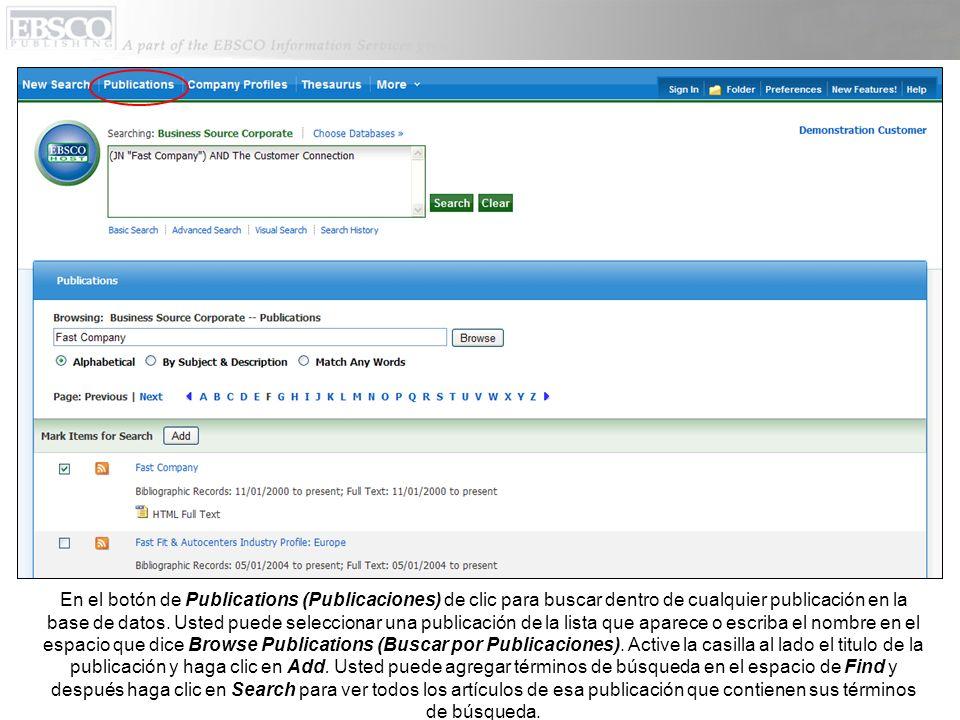 En el botón de Publications (Publicaciones) de clic para buscar dentro de cualquier publicación en la base de datos.