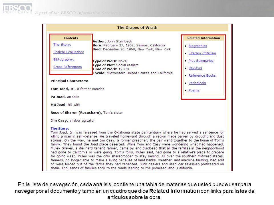 En la lista de navegación, cada análisis, contiene una tabla de materias que usted puede usar para navegar por el documento y también un cuadro que di
