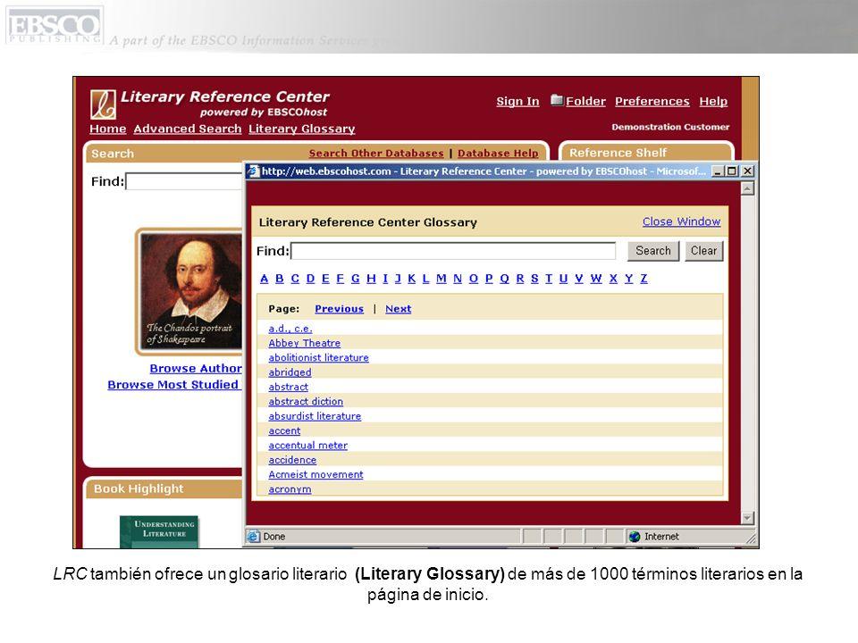 LRC también ofrece un glosario literario (Literary Glossary) de más de 1000 términos literarios en la página de inicio.