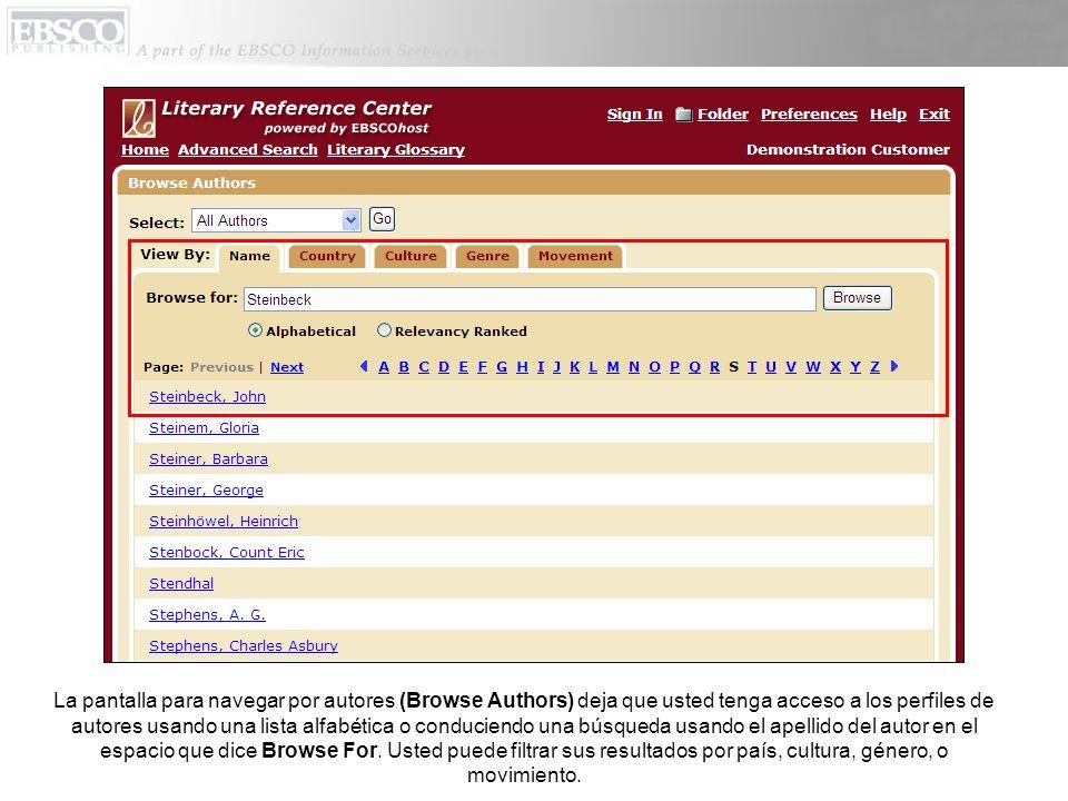 La pantalla para navegar por autores (Browse Authors) deja que usted tenga acceso a los perfiles de autores usando una lista alfabética o conduciendo