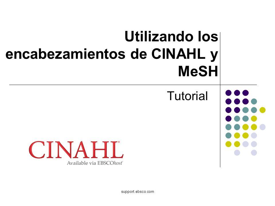 support.ebsco.com Utilizando los encabezamientos de CINAHL y MeSH Tutorial