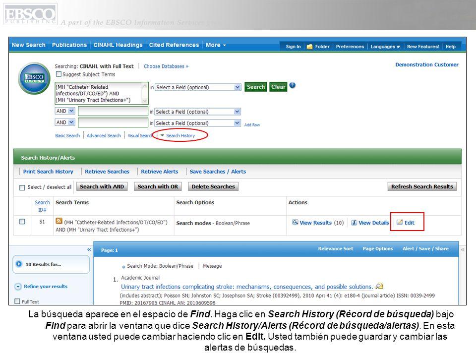 La búsqueda aparece en el espacio de Find. Haga clic en Search History (Récord de búsqueda) bajo Find para abrir la ventana que dice Search History/Al