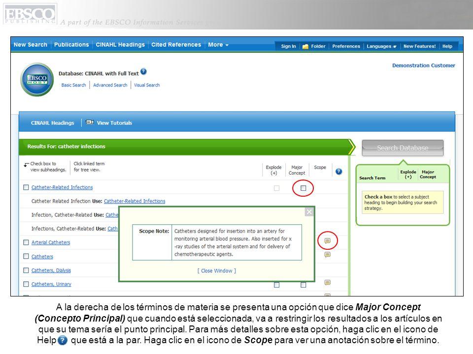 La organización jerárquica de encabezamientos de materia, aparecen cuando usted hace clic en el encabezado del tema.