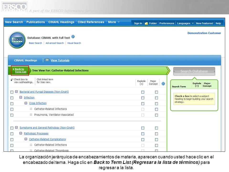 La organización jerárquica de encabezamientos de materia, aparecen cuando usted hace clic en el encabezado del tema. Haga clic en Back to Term List (R