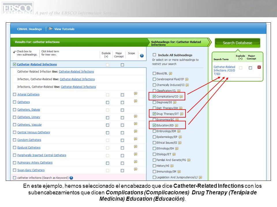 Mientras usted está seleccionando los distintos terminos, su estrategia de búsqueda es agregada al cuadro Search Term Builder.