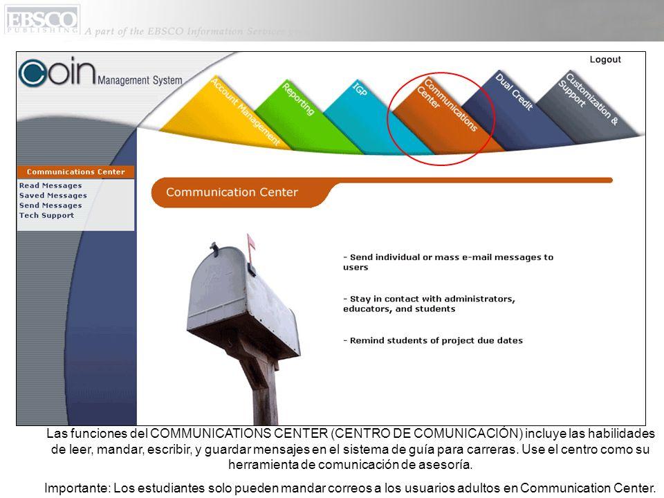 Las funciones del COMMUNICATIONS CENTER (CENTRO DE COMUNICACIÓN) incluye las habilidades de leer, mandar, escribir, y guardar mensajes en el sistema de guía para carreras.