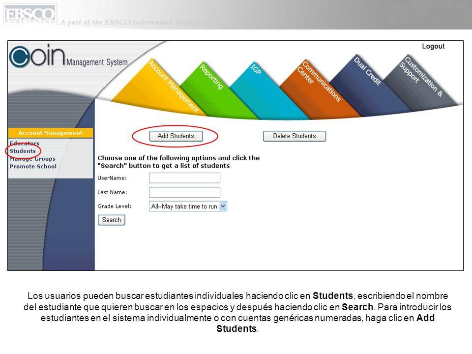 Los usuarios pueden buscar estudiantes individuales haciendo clic en Students, escribiendo el nombre del estudiante que quieren buscar en los espacios y después haciendo clic en Search.