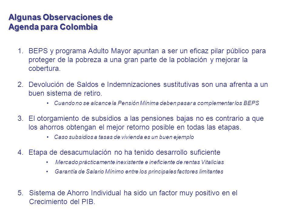 Algunas Observaciones de Agenda para Colombia 1.BEPS y programa Adulto Mayor apuntan a ser un eficaz pilar público para proteger de la pobreza a una gran parte de la población y mejorar la cobertura.