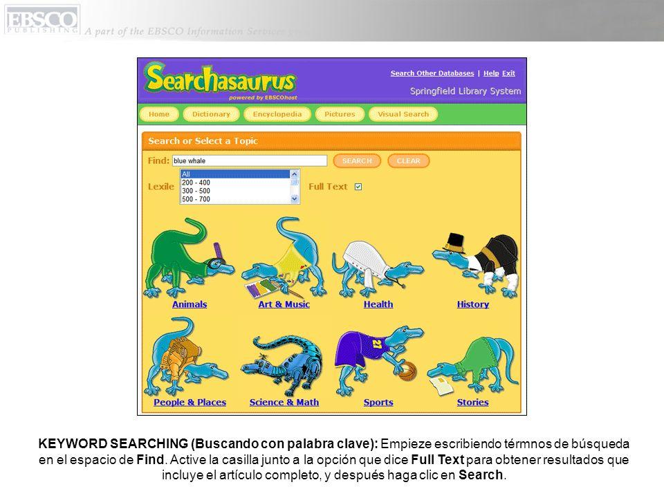 La página con la información sobre la publicación le ofrece una lista de las ediciones disponibles, con un link para buscar dentro de la publicación para los contenidos, sin tomar en cuenta los términos de búsqueda.
