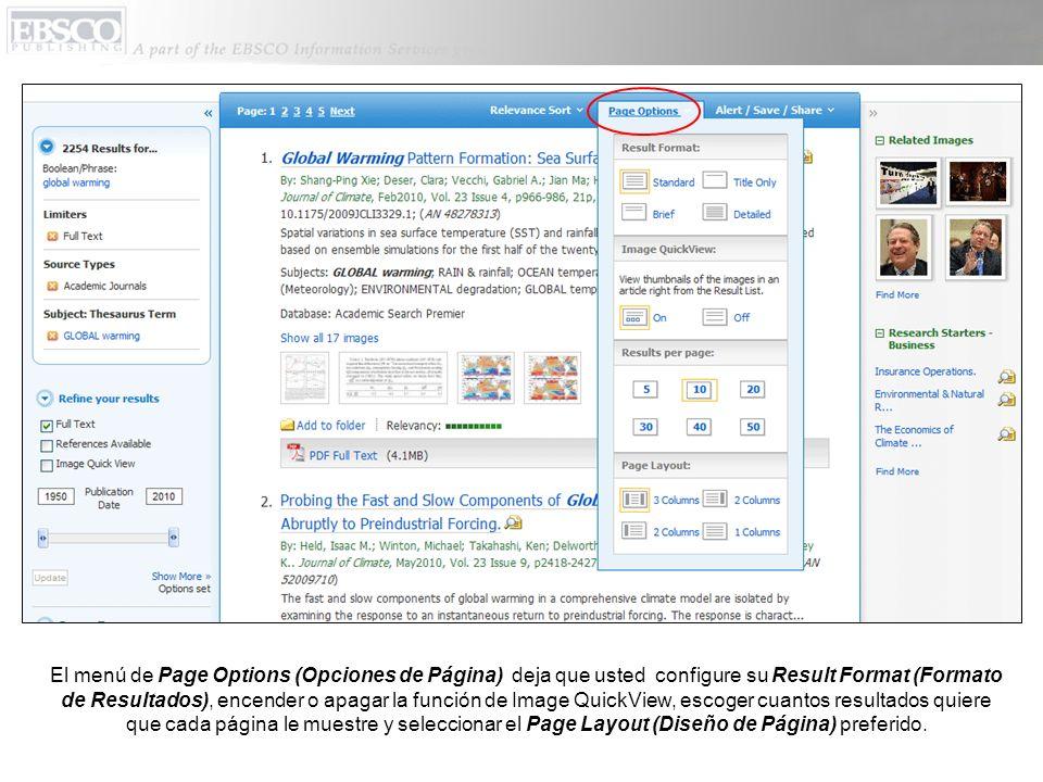 El menú de Page Options (Opciones de Página) deja que usted configure su Result Format (Formato de Resultados), encender o apagar la función de Image