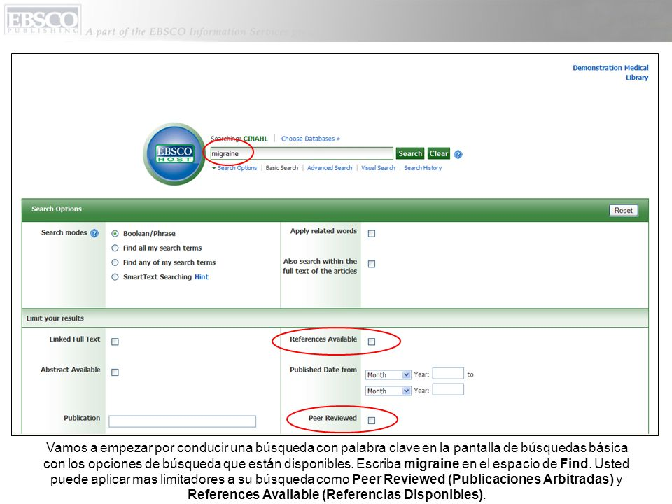 Vamos a empezar por conducir una búsqueda con palabra clave en la pantalla de búsquedas básica con los opciones de búsqueda que están disponibles.