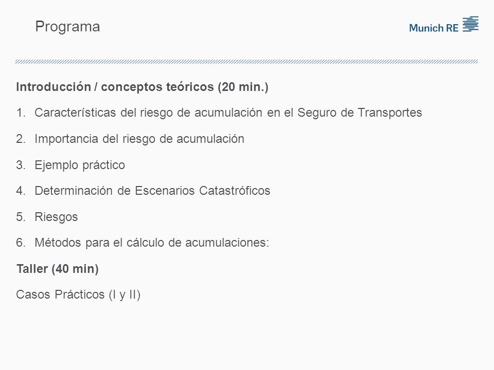 Programa Introducción / conceptos teóricos (20 min.) 1.Características del riesgo de acumulación en el Seguro de Transportes 2.Importancia del riesgo