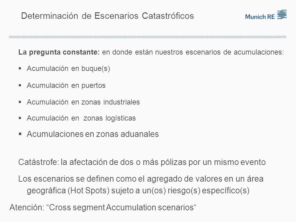 Determinación de Escenarios Catastróficos La pregunta constante: en donde están nuestros escenarios de acumulaciones: Acumulación en buque(s) Acumulac