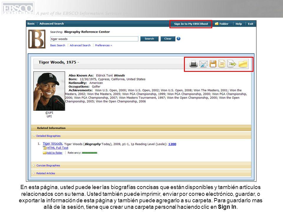 En esta página, usted puede leer las biografías concisas que están disponibles y también artículos relacionados con su tema.