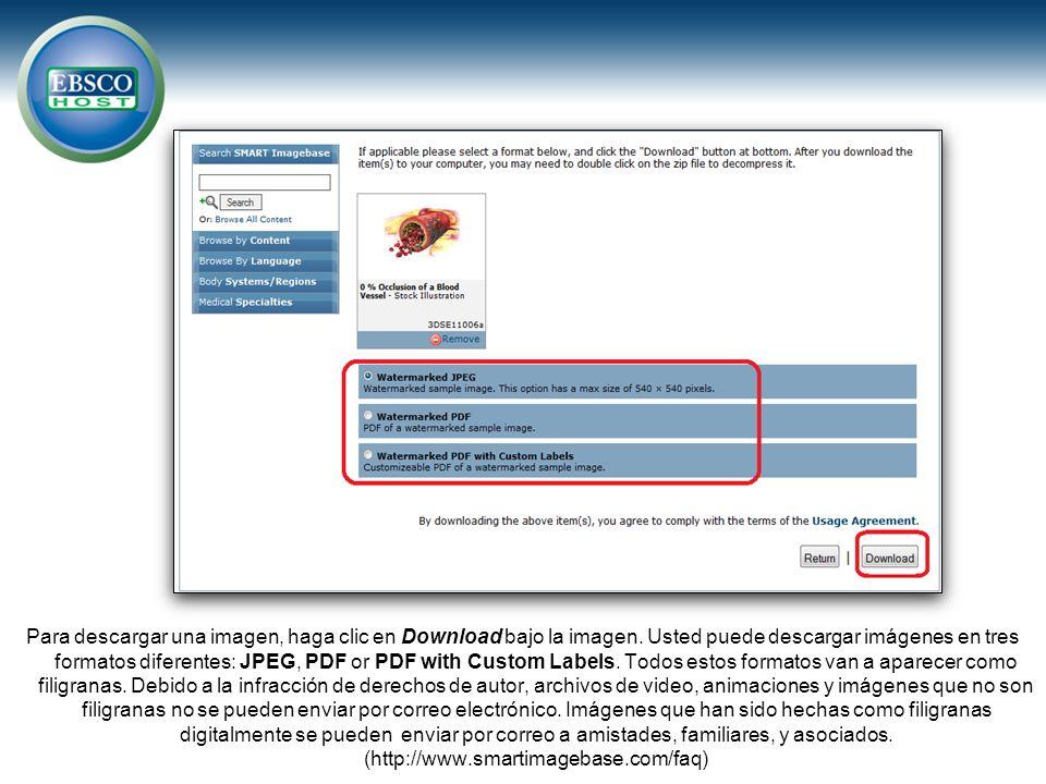 Para descargar una imagen, haga clic en Download bajo la imagen. Usted puede descargar imágenes en tres formatos diferentes: JPEG, PDF or PDF with Cus