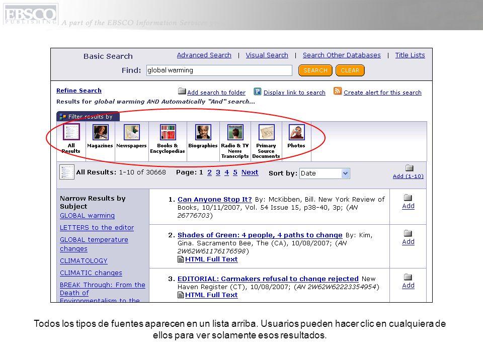 Todos los tipos de fuentes aparecen en un lista arriba. Usuarios pueden hacer clic en cualquiera de ellos para ver solamente esos resultados.