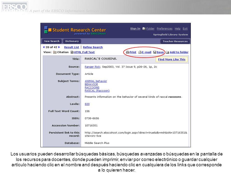 Los usuarios pueden desarrollar búsquedas básicas, búsquedas avanzadas o búsquedas en la pantalla de los recursos para docentes, donde pueden imprimir