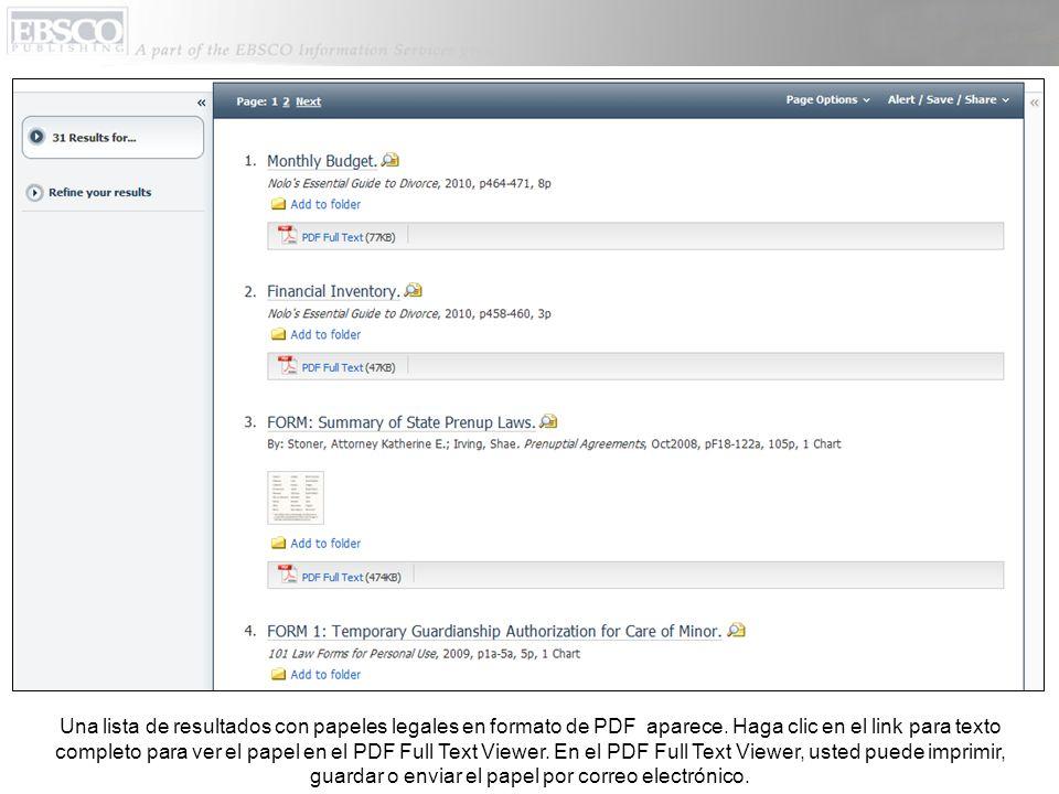 Una lista de resultados con papeles legales en formato de PDF aparece.