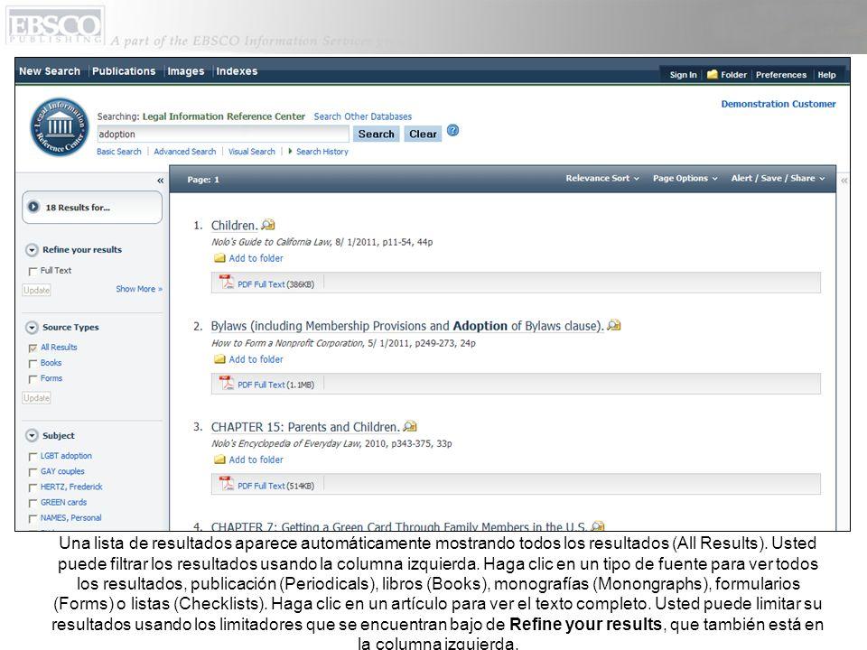 La lista de estados aparece en el PDF Full Text Viewer.