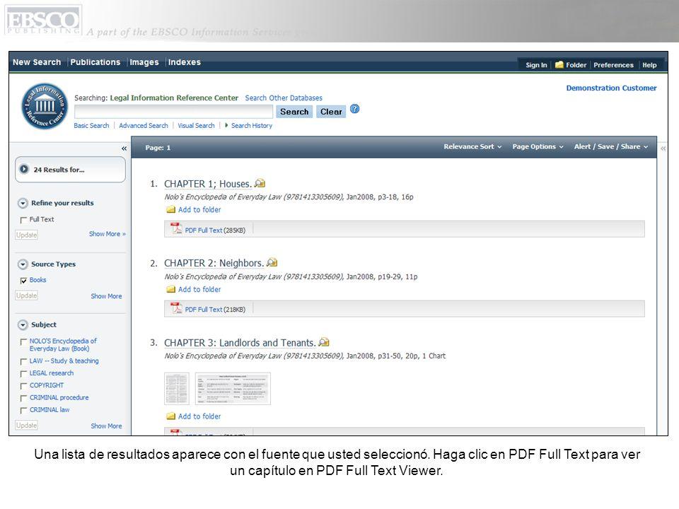 Al regresar a la pantalla para búsqueda básica, tiene la opción de buscar información sobre leyes en libros de Nolo, que es un publicador de materiales de información sobre leyes.