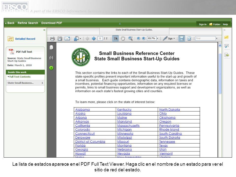 La lista de estados aparece en el PDF Full Text Viewer. Haga clic en el nombre de un estado para ver el sitio de red del estado.