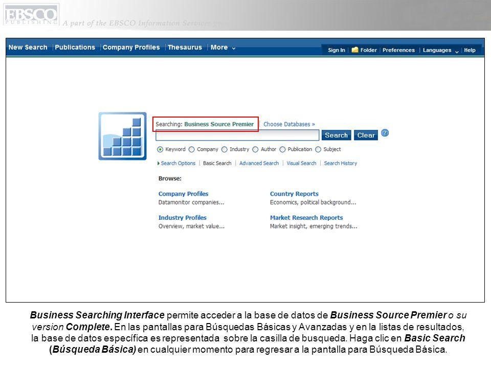 BROWSE LOOK-UP LISTS (Buscar por Listas de Búsquedas): La pantalla de Búsqueda Básica permite acceder a la búsqueda por listas de autores, empresas.