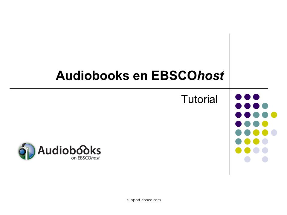 support.ebsco.com Tutorial Audiobooks en EBSCOhost