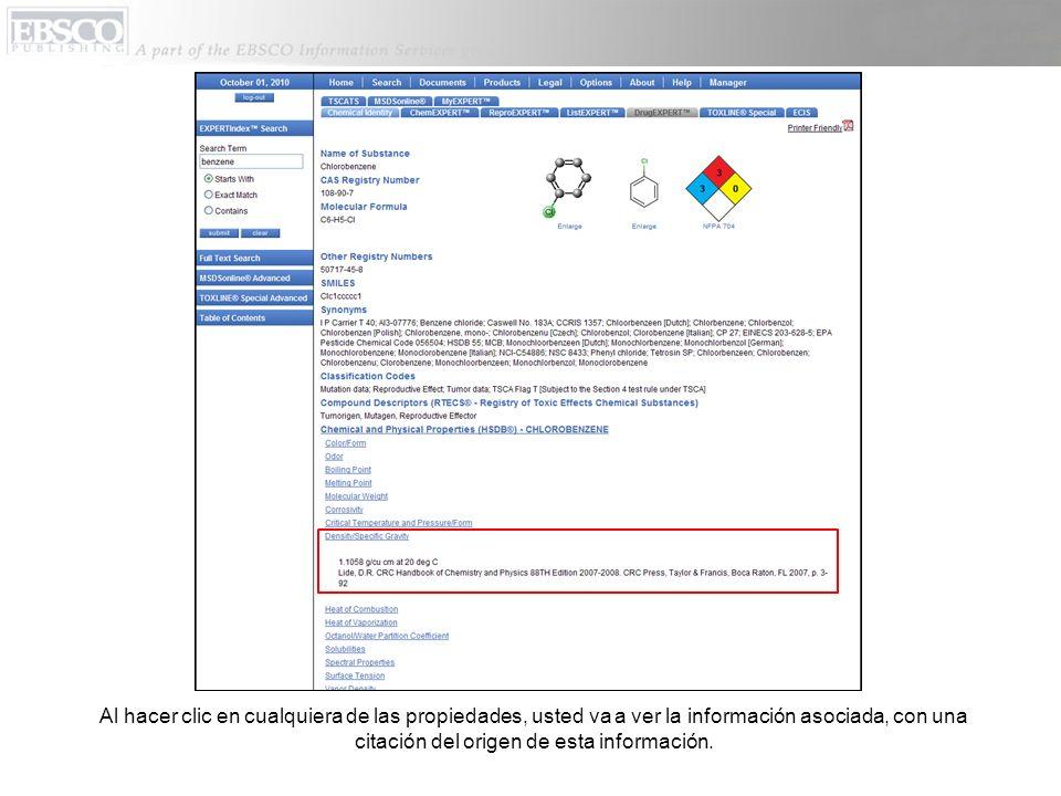 Al hacer clic en cualquiera de las propiedades, usted va a ver la información asociada, con una citación del origen de esta información.