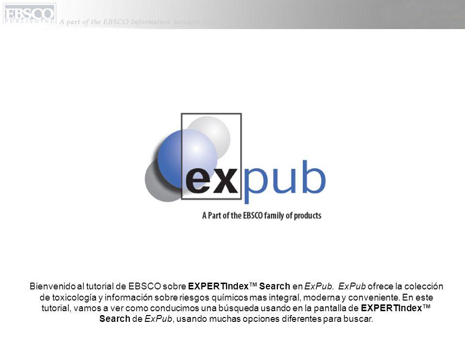 Bienvenido al tutorial de EBSCO sobre EXPERTIndex Search en ExPub.