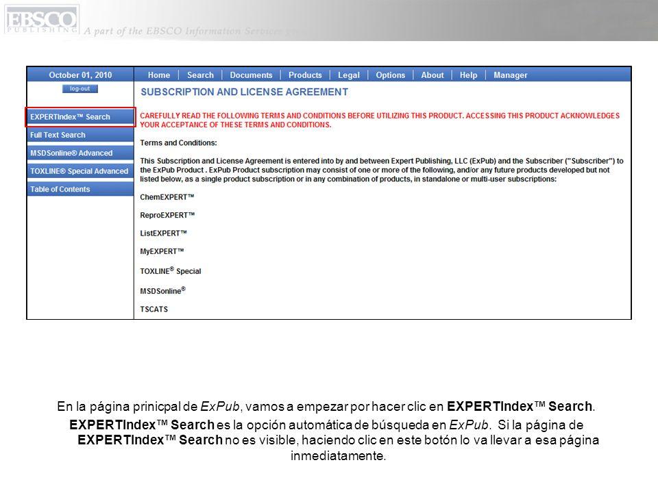 La página de ExPubs EXPERTIndex Search deja que usted busque información usando nuestro índice de términos que contiene mas de 2 millones de términos que cubren mas de 400,000 sustancias químicas.