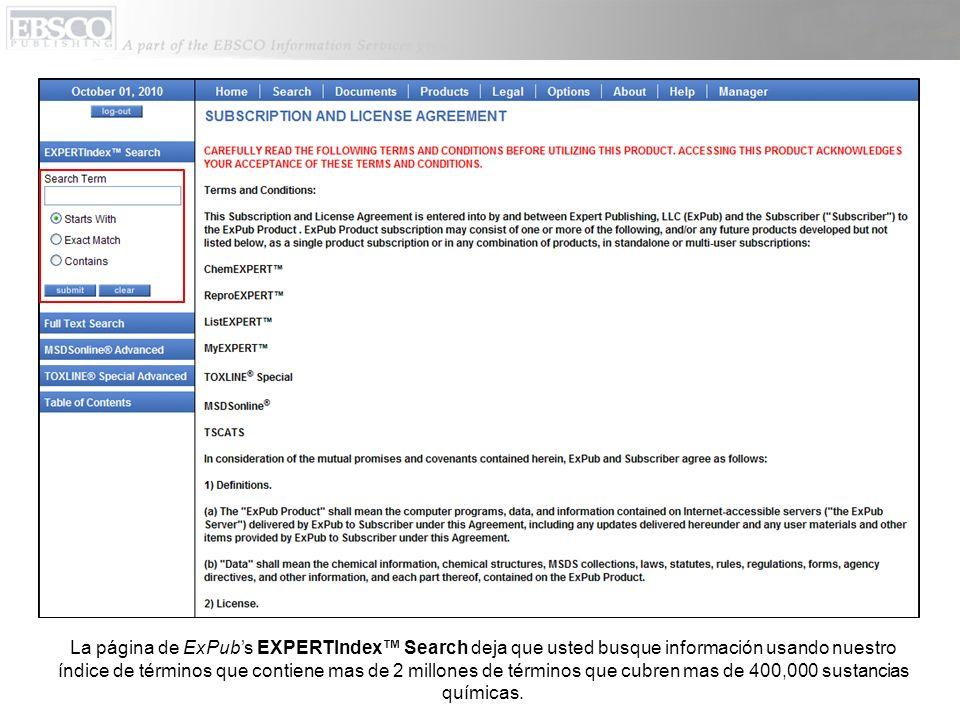 Si por ejemplo, usted hace clic en la etiqueta que dice ChemEXPERT, usted va a recuperar una lista de resultados organizados por carpeta que incluye todos los documentos de la colección de ChemEXPERT que son sobre benzene chloride.
