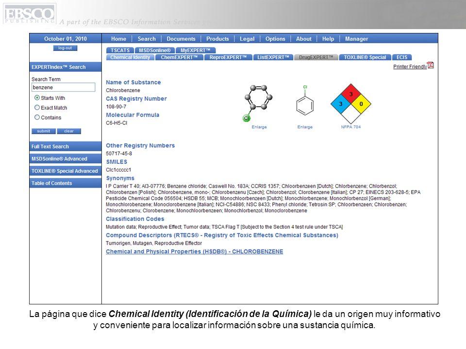 Esta página tambien incluye representaciones gráficas sobre la estructura química de una sustancia química, y tambien una representación de la sustancia en NFPA 704.